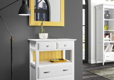 AUX13 Mueble auxiliar con espejo a juego en madera, en dos tonos, posibilidad de diferentes acabados.