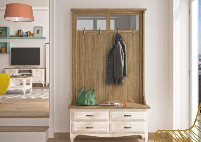 AUX14 Mueble entrada  con colgadores, en madera, en dos tonos, posibilidad de diferentes acabados.
