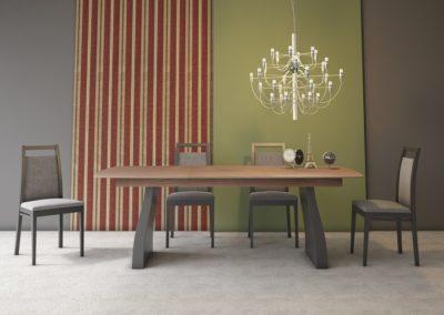 AUX20 Mesa de comedor extensible con tapa en gris y tapa en madera.