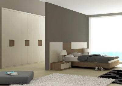 AV5- Armario empotrado  a medida de puertas batientes, en chapa de madera, tirador embutido, gran variedad de acabados de color, a juego de dormitorio.