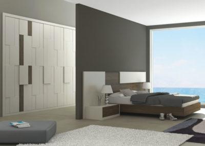 AV6- Armario empotrado a medida de puertas batientes en relieve, en chapa de madera, combinado en dos colores a juego con el dormitorio, gran variedad de acabados de color.