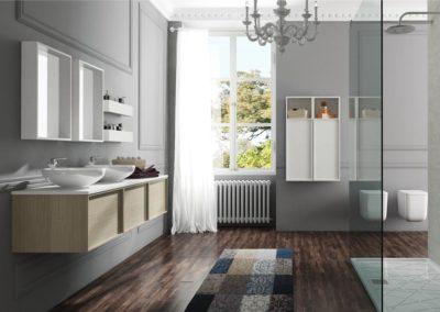 B1 Mueble de baño suspendido con lavado sobre encimera, con espejo con repisa, combinado en dos colores, diferentes acabados para elegir.