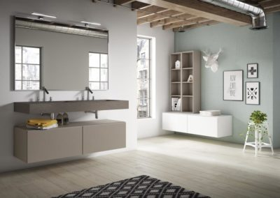 B10 Mueble de baño doble con líneas rectas, suspendido con lavado bajo encimera de doble seno, con mueble colgado con puertas y estanterías, tirador uñero, diferentes acabados para elegir.