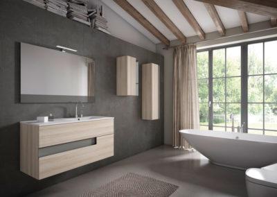 B11 Mueble de baño con líneas rectas, suspendido con lavado bajo encimera de un seno, con dos muebles colgados con puerta, tirador uñero lacado, diferentes acabados para elegir.