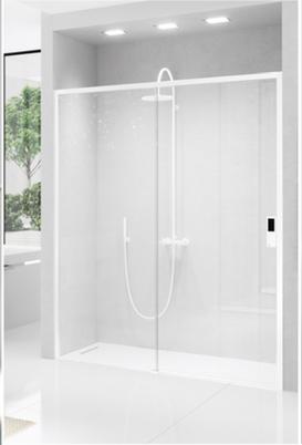 B15 Mampara de ducha recta, con dos puerta correderas, acabado en blanco,.