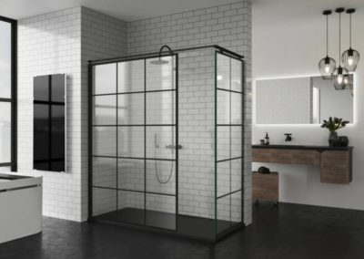 B16 Mampara de ducha en esquina, con puertas correderas, línea industrial, diferentes acabados a elegir.