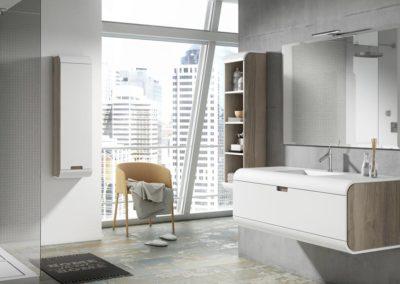 B2 Mueble de baño con líneas redondeadas, suspendido con lavado bajo encimera de un seno, con mueble colgado con puerta y estanterías a juego, tirador embutido, diferentes acabados para elegir.