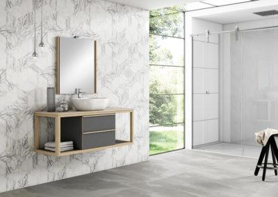 B3 Mueble de baño suspendido con lavado sobre encimera, con espejo a juego, combinado en dos colores, diferentes acabados para elegir.