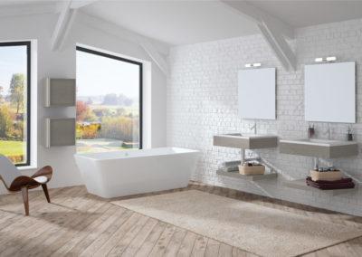 B4 Mueble  de baño línea minimalista con repisa y cubos colgados, espejo a juego, diferentes acabados para elegir.