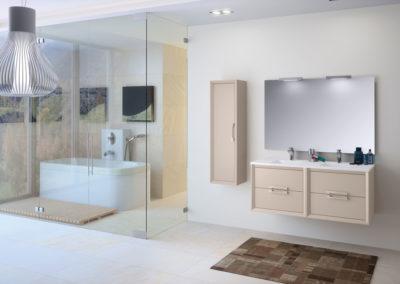 B5 Mueble de baño suspendido con lavado bajo encimera de dos senos, con mueble colgado a juego, diferentes acabados para elegir.
