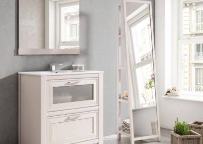 B7 Mueble baño línea contemporánea en blanco con espejo vestidor a juego, diferentes colores a elegir.