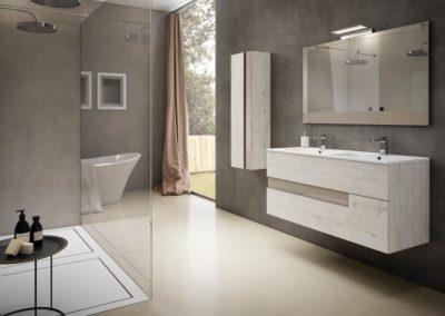 B8 Mueble de baño con líneas rectas, suspendido con lavado bajo encimera de doble seno, con mueble colgado con puerta, tirador uñero lacado, diferentes acabados para elegir.