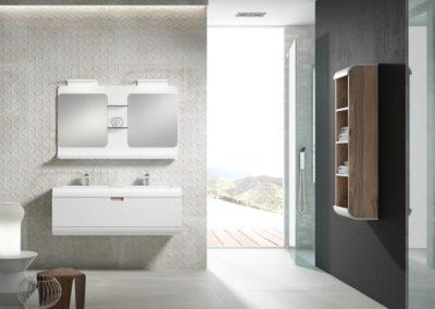 B9 Mueble de baño con líneas redondeadas, suspendido con lavado bajo encimera de doble seno, con estantería a juego, tirador embutido, espejo doble con estantes,  diferentes acabados para elegir.