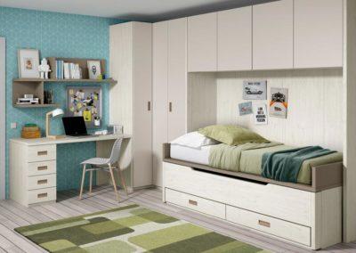 J1 Dormitorio juvenil en chapa sintética, con armario en rincón y puente de gran capacidad, a medida, gran variedad de acabados.