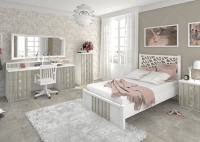 J10 Dormitorio juvenil con cama  completa, amplia mesa de estudio con altillo, con posibilidad de armario a juego,