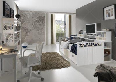 J12 Dormitorio juvenil con cama nido y estantería lateral, varios acabados, posibilidad de armario a juego.