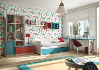 J14 Dormitorio juvenil en madera  tintada, con cama nido con respaldo, con mesa de setudio a medida, gran variedad de  acabados.