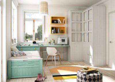 J16 Dormitorio juvenil en madera bicolor, con armario rincón de puertas batientes  con cristal y visillo.