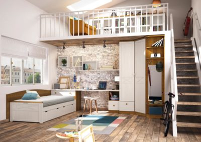 J17 Dormitorio juvenil en madera combinado en blanco, con armario rincón de puertas plafonadas batientes y terminal vestidor con espejo y colgadores.