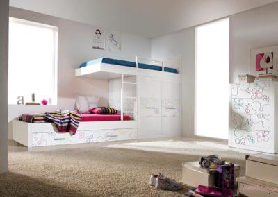 J18 Conjunto cama tren con cama nido arrastre, en chapa de madera lacada y detalles grabados personalizables, gran variedad de detalle grabados.