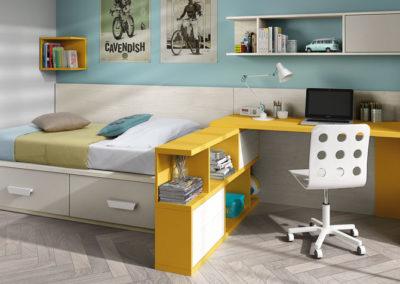 J2 dormitorio juvenil con cama nido con cajones y zona de mesa de estudio en rincón, gran variedad de acabados.