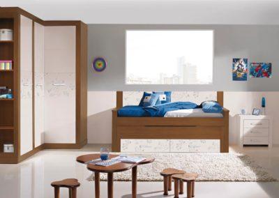 J20 Dormitorio juvenil con armario en rincón, combinado en dos acabados, y personalizado, cama compacta con friso y mesa de estudio a medida.