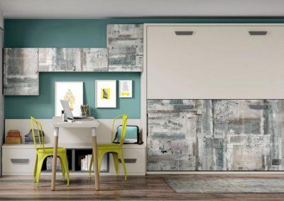 J3 dormitorio juvenil con litera abatible y mesa de estudio doble y altillos de gran capacidad de almacenaje, gran variedad de acabados.