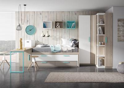 J5 Dormitorio juvenil en chapa sintética, con armario en rincón y mesa de estudio  a medida, gran variedad de acabados.