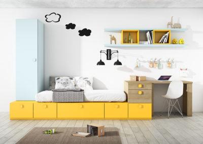 J7 Dormitorio juvenil de línea bloques con armario elevado, gran variedad de acabados y medidas.