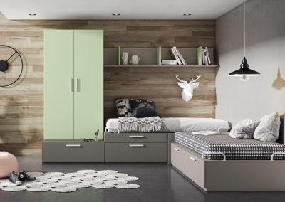 J8 Dormitorio juvenil con dos camas  en esquina, con cajones de gran capacidad, armario de dos puertas elevado, gran variedad de acabados y medidas.