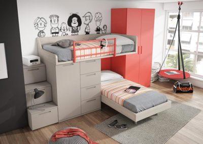 J9 Dormitorio juvenil con litera en dos posiciones, armario de 2 puertas y gran zona de almacenaje, gran variedad de acabados.