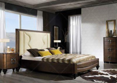 DC10 Dormitorio en madera, de líneas redondeadas con sinfonier , posibilidad de diferentes medidas de cabecero.