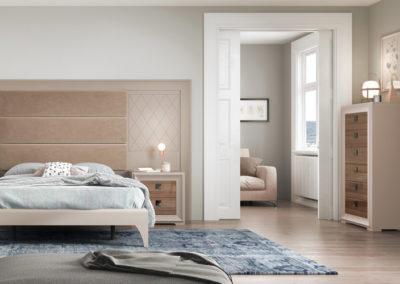 DC12 Dormitorio con cabezal corrido en madera lacada rayada y combinado en tela, bancada con patas, mesillas y sinfonier combinado en dos acabados, posibilidad de armario a juego.