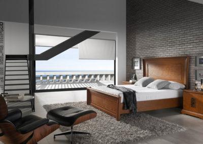DC15 Dormitorio en madera  color cerezo de líneas rectas con sinfonier y armario a juego, posibilidad de diferentes medidas de cama, tirador filigrana madera.