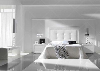 DC17 Dormitorio en madera  lacada de líneas rectas , con cabecero tapizado, con sinfonier y armario a juego, posibilidad de diferentes medidas de cabecero.