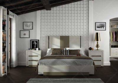 DC18 Dormitorio en madera  lacada de líneas rectas , combinado en dos tonos,  posibilidad de diferentes medidas de cama.