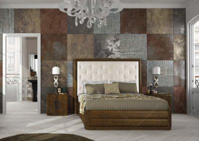 DC9 Dormitorio en madera  color cerezo de líneas redondeadas con sinfonier y armario a juego, posibilidad de diferentes medidas de cabecero.