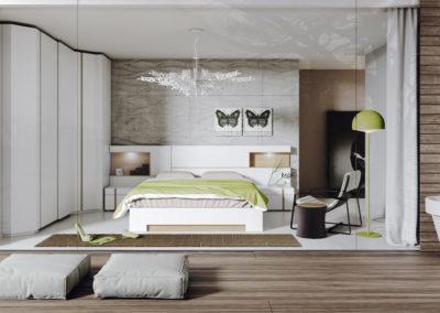 DM9 Dormitorio línea moderna en chapa de madera en blanco con detalles en color natural, con repisas con luz, mesillas de 1 cajón y contenedor, bancada combinada , armario rincón con puertas correderas a juego.