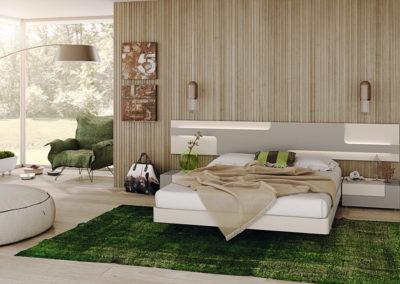 DM10 Dormitorio línea moderna con cabecero colgado con luz,  en dos acabados gris y crema, mesillas de 2 cajones.