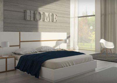 DM4 Dormitorio de cabecero corrido en línea recta en blanco combinado con color natural, mesillas bajas de 2 cajones, posibilidad de armario a medida.