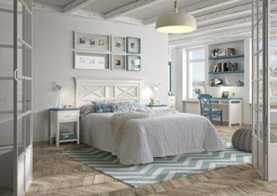 DR12 Dormitorio en madera tintado en blanco decapado combinado con azul, mesillas, sinfonier y mesa de estudio  a juego, posibilidad de diferentes medidas de cabezal.