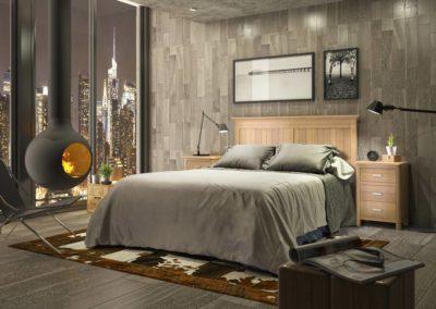 DR13 Dormitorio en madera color natural, mesillas y sinfonier a juego, posibilidad de diferentes medidas de cabezal.