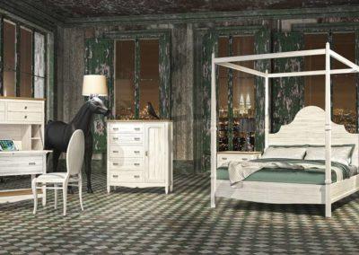 DR14 Dormitorio en madera en blanco con tapa en color natural, cama con dosel, mesillas, sinfonier y mesa de estudio  a juego, posibilidad de diferentes medidas de cabezal.