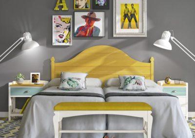 DR15 Dormitorio en madera en colores con  mesillas, sinfonier a juego, posibilidad de diferentes medidas de cabezal y armario a juego.