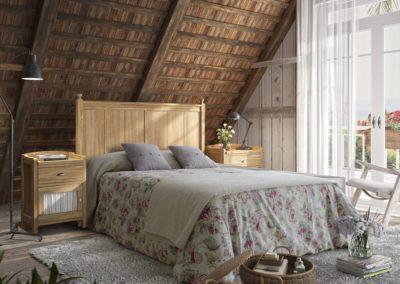 DR16 Dormitorio en madera color natural, mesillas con puerta con visillos, sinfonier o cómoda a juego, posibilidad de diferentes medidas de cabezal.