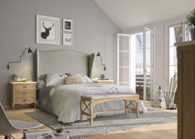 DR17 Dormitorio en madera en color natural arenado con encimeras en blanco, con cabezal alto tapizado, posibilidad de diferentes medidas de cabezal, banqueta de pie de cama a juego.