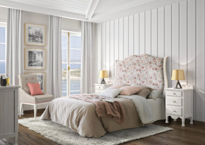 DR18 Dormitorio en madera maciza en blanco arenado, con cabezal alto tapizado, posibilidad de diferentes medidas de cabezal.