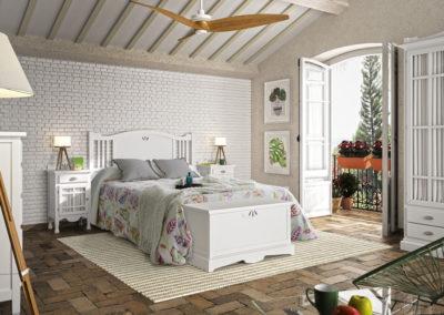 DR19 Dormitorio de madera  en blanco, con detalle labrado en cabezal y arcón, posibilidad de diferentes medidas de cabezal.