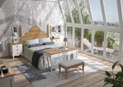 DR20 Dormitorio en madera en color natural y blanco, con cabezal de madera alto, posibilidad de diferentes medidas de cabezal, mesa tocador y banqueta a juego.