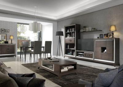 SC1 Salón modular en chapa de madera color caoba, enmarcado con moldura en plata, con base de patas, posibilidad de diferentes medidas y acabados.